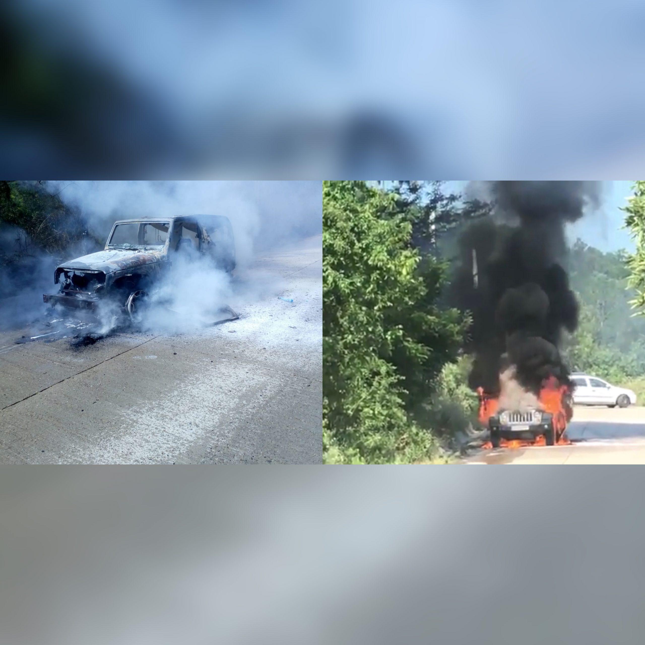 O masina de teren a luat foc in trafic